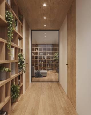 Boiserie Quadro in legno massiccio e libreria modulare Open Box Plus in Rovere Seta